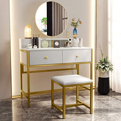 Big Save! Tribesigns Large Vanity Set with Round Mirror and Cushioned Stool, Makeup Vanity and Stool...
