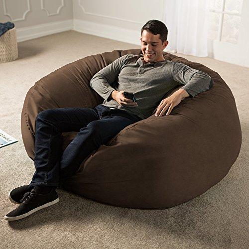 Jaxx 5 Foot Saxx - Big Bean Bag Chair for Adults, Chocolate