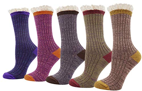 Womens Ladys 5 Pack Crochet Lace Trim Cotton Knit Socks, Multi Color 1, One Size