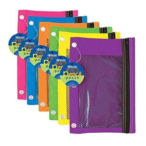 3-Ring Pencil Pouch with Mesh Window Quantity: Case of 144, Color: Bright by BAZIC