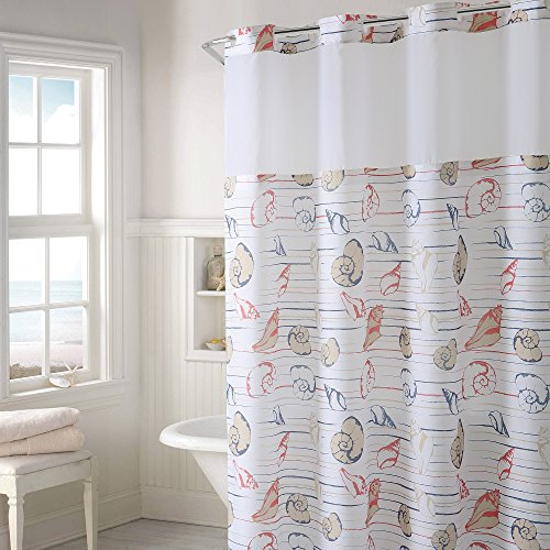 Hookless Seashell Stripe Print Shower Curtain with - Shower 3 Stripe Curtain