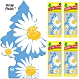 LITTLE TREES Car Air Freshener | Hanging Tree Provides Long Lasting Scent for Auto or Home | Daisy Fields, 6-packs (4 count)