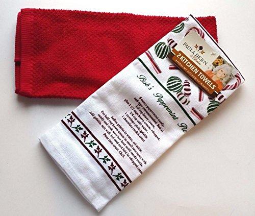Paula Deen Bob's Peppermint Pie Recipe Christmas Candy Cane Peppermints Design Red Kitchen Towel Set