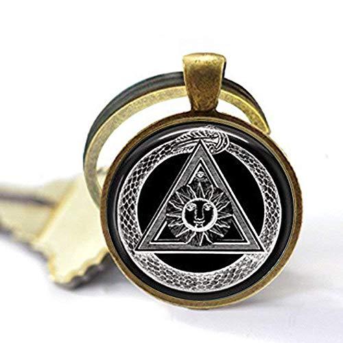 Handmade Alchemy Keychain,Illuminati Keychain,Occult Jewelry - Bronze Alchemy New
