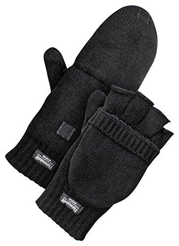Bob Dale Gloves 8096200L Acrylic Flip Mitt Black Lined Thinsulate C40,