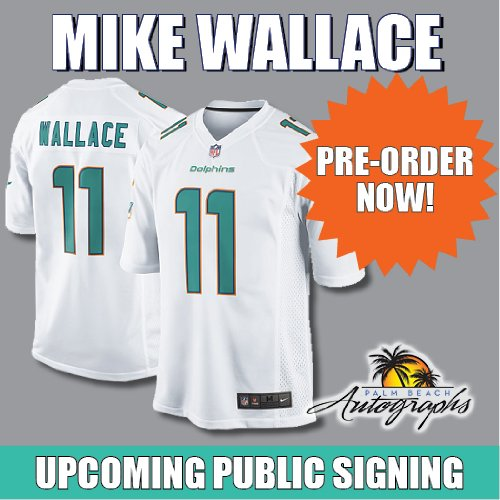 PREORDER - Mike Wallace Autographed Miami Dolphins (White #11) Jersey - Wallace Holo