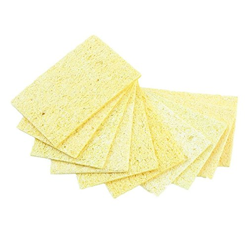 10pcs de alta temperatura resistente a la soldadura soldador punta de soldadura esponja de limpieza amarillo Heatstable esponja de limpieza Formulaone