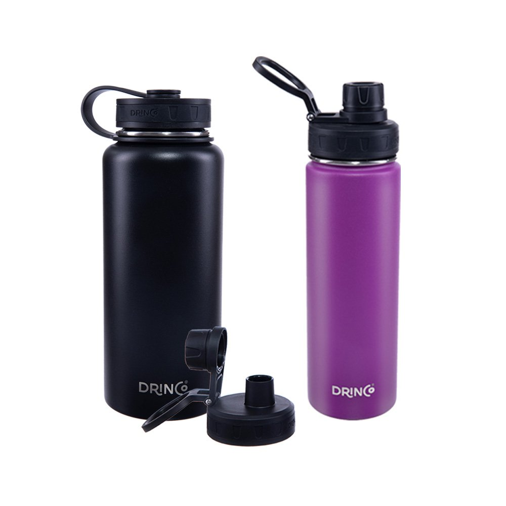Drinco Vacuum Insulated Stainless Steel Water Bottle, with Spout Lid, Wide Mouth, Leak Proof, Powder Coated, Double Wall, 18/8 Grade, Stainless Steel Water Bottle, 30oz & 20oz, 2 Pack (Black/Purple)
