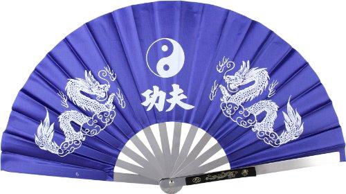 Blue Metal Fans (BladesUSA 2510-CBL Kung Fu Fighting Fan, Metal Frame, Blue/White, 14-3/4-Inch Length, 27-1/4-Inch Open)