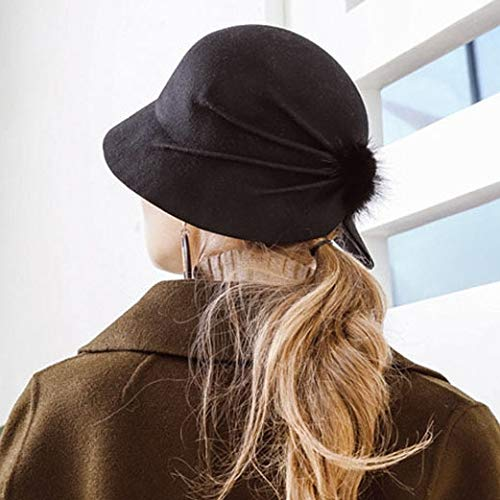 fcea4257c00df Amazon.com  FelixStore Female Bucket Hat Hairball Ultra Thin Wool Felt  Fedoras Hats for Women Foldable  Kitchen   Dining