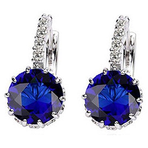 - Ameesi Women's Jewelry Gift 9K Gold Plated Big Zircon Rhinestone Huggie Earrings - Royal Blue