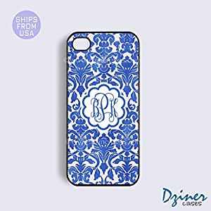 Monogram iPhone 4 4s Case - Dark Blue Damask iPhone Cover