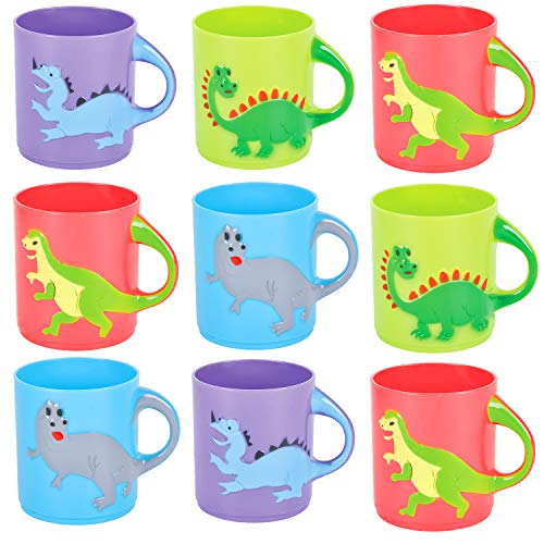 Dinosaurs Mugs - (Pack of 12) Mini Plastic Cups for Kids, Reusable Novelty Mugs for Goody Bags Favors and Jurassic Dinosaur Party Supplies by Bedwina]()