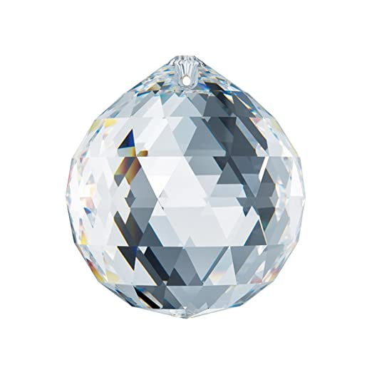 Christmas Tablescape Decor - High-quality Austrian Swarovski large faceted crystal ball ornament with Certificate of Authenticity