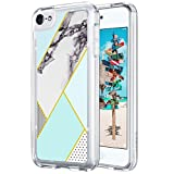 iPod Touch 6 Case,ULAK [CLEAR SLIM] Flexible Soft TPU Bumper PC Back Hybrid Shock Absorption Case with Fabulous Glossy Pattern for iPod Touch 6/iPod Touch 5 -Mint Marble