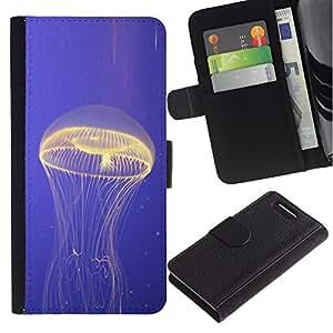 Planetar® Modelo colorido cuero carpeta tirón caso cubierta piel Holster Funda protección Para Sony Sony Xperia Z1 Compact / Z1 Mini (Not Z1) / Z1 Mini (Not Z1) ( Las medusas océano azul que brilla intensamente Mar Naturaleza )