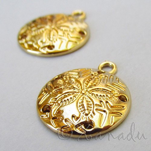 (OutletBestSelling Pendants Beads Bracelet Sand Dollar Charms 21mm Gold Plated Ocean Beach 5pcs)