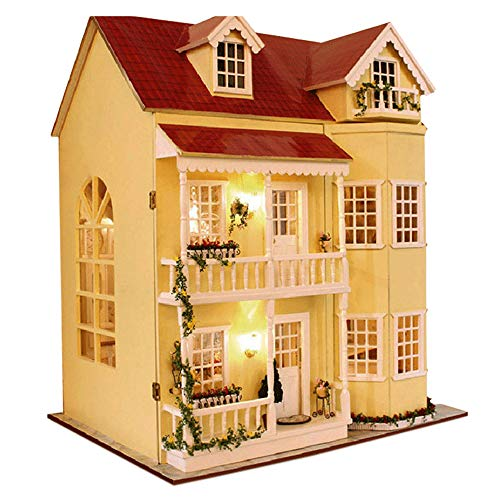 MAGQOO 3D Wooden DIY Dollhouse Miniature Kit DIY House Kit with Furniture 3D Puzzles Music Box and Glue Included(House of Fairy Tales)