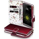 LG G5 Cover, Terrapin Handy Leder Brieftasche Case Hülle mit Kartenfächer für LG G5 Hülle Rot mit Blumen Interior