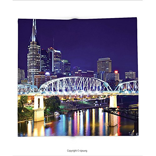 Custom printed Throw Blanket with Apartment Decor Collection Skyline Of Downtown Nashville Tennessee Usa. Reflection Travel Destinations Super soft and Cozy Fleece (Halloween Weather Nashville)