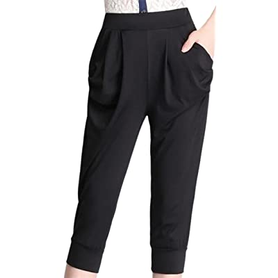 GenericWomen Generic Women's High Waisted Casual Pure Color Mid Long Sports Harlan Pants