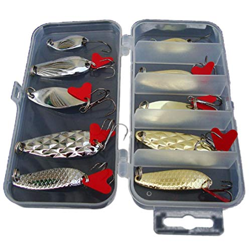 Quaanti 10Pcs/lot Metal Fishing Lures Bass Spoon Crank Bait Saltwater Tackle Hooks Hard Lure with Fishing Boxes Wholesale Prices (Gold)