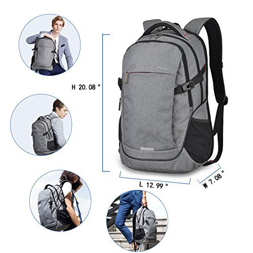 MIXI Laptop Backpack for Men Women Business Travel Backpack Water Repellent Computer Bag Durable College School Backpack with USB Charging Port Fits 15.6'' Laptop and Notebook(Grey-19inch) by Mixi (Image #4)