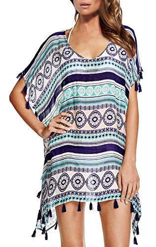 Chalier Womens Striped Chiffon Swimwear Bikini Swim Beachwear Swimsuit Cover Up