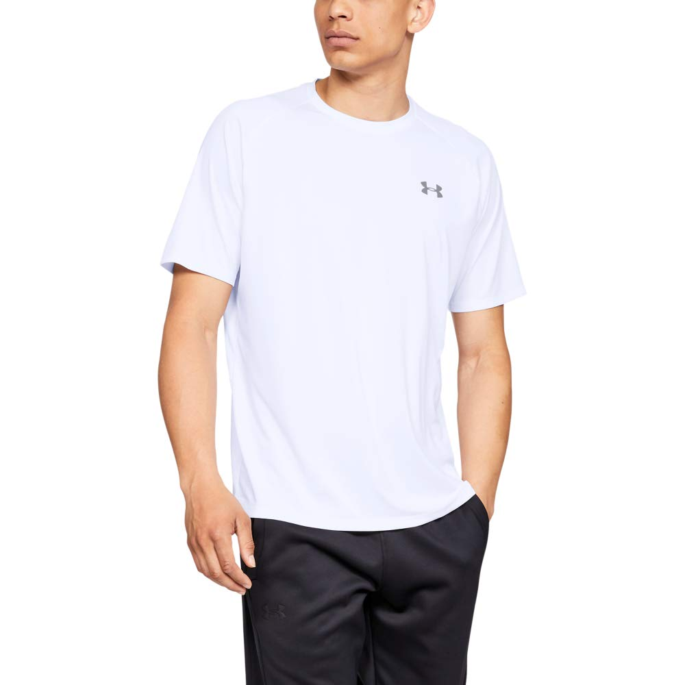 Under Armour mens Tech 2.0 Short Sleeve T-Shirt, White (100)/Overcast Gray, Large by Under Armour