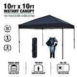 kdgarden 10 x 10 Ft. Outdoor Pop Up Waterproof Canoy with 300D Top, Portable Silver Coated UV Canopy Tent for Outdoor Use, with Roller Bag, Black