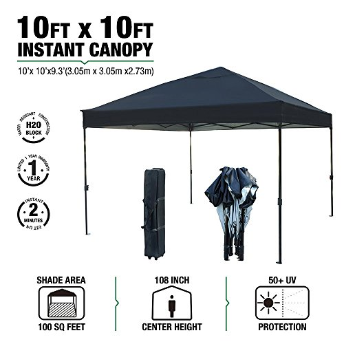kdgarden 10 x 10 Ft. Outdoor Pop Up Waterproof Canoy with 300D Top, Portable Silver Coated UV Canopy Tent for Outdoor Use, with Roller Bag, Black by kdgarden