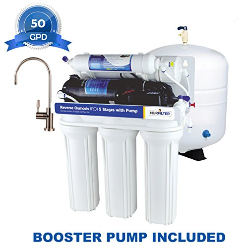 GENPAR A0150G Nurfilter RO Reverse Osmosis Water Filtration System with BOOSTER Pump, Under-Sink Home Quality, Filter Modern Lead Free Faucet Filter Install (Filtering System)