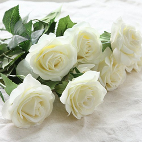 iMeshbean Artificial Silk Colorful 20 Head Real Latex Touch Rose Flowers for Wedding Home Design & Bouquet Decoration USA (Cream Ivory)