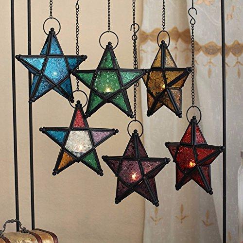 Stunning Star Glass Votive Hanging Candle Holder Star Lantern For Wedding Birthday Party Home Garden Decoration