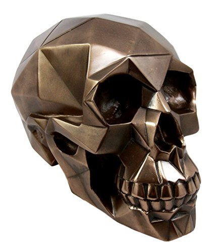Atlantic Collectibles Futuristic Geometric Matrix Polygon Bronze Patina Resin Skull Decorative Figurine 8.5