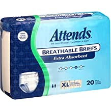 Attends Breathable Briefs with Odor Shield for Adult Incontinence Care, Large, Unisex, 20 Count (Pack of 3)