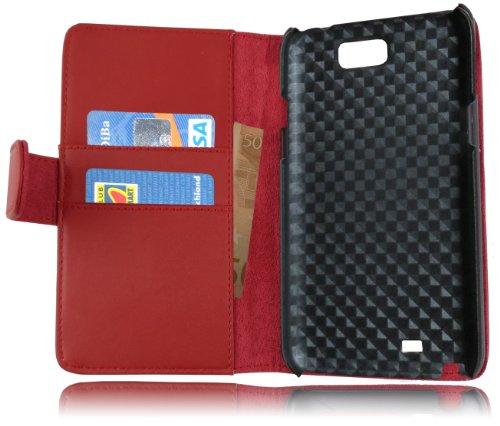 Cadorabo - Funda Samsung Galaxy NOTE 2 (N7100) Book Style de Cuero Sintético Liso en Diseño Libro - Etui Case Cover Carcasa Caja Protección con Tarjetero en NEGRO-DE-CAVIAR ROJO-DE-CHILE