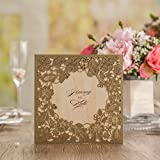 Doris Home wedding invitations wedding invites invitations cards wedding invitations kit Gold Square Hollow Flora Vintage Laser Cut Wedding Invitation,100pcs,CW5279