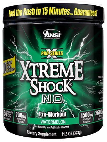 ANSI Xtreme Shock N.O. Powder One scoop pre workout. Watermelon
