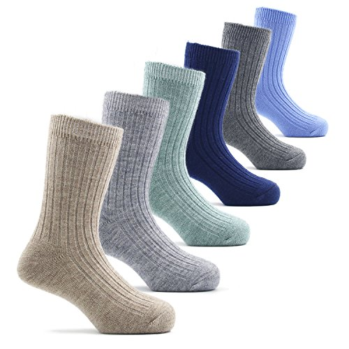 Big Boys Wool Socks Kids Crew Seamless Winter Warm Socks 6 Pack 6 Pack 8/9/10T