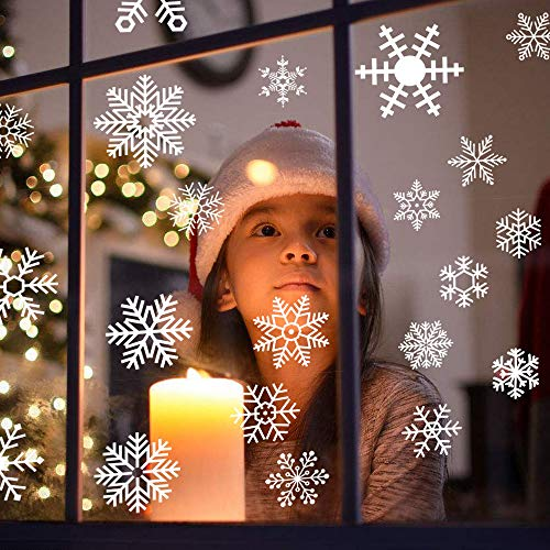 DECORA 48 Pieces Snowflake Glass Cling Window Film Sticker Static Decal for Christmas and New Year Decoration