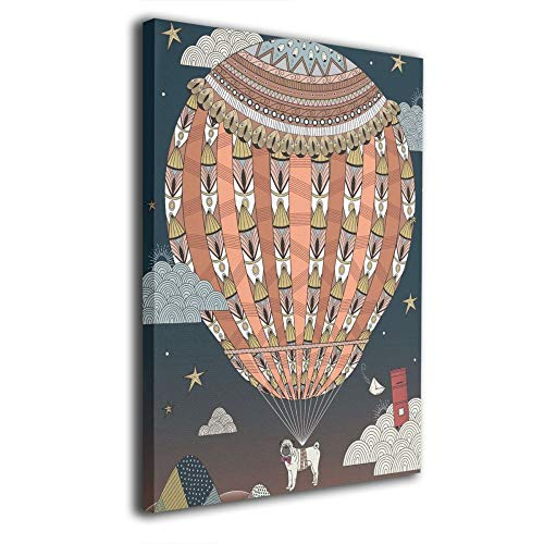 Little Monster Hot Air Balloon Inner Framed Painted On Canvas Decorations Abstract Paintings Art for Boys and Girls Bedroom Bathroom
