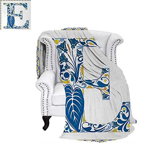 Custom Design Cozy Flannel Blanket Portuguese Tiles and Floral Arrangement Colorful Artistic Design Alphabet Lightweight Blanket 50