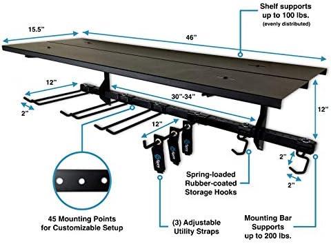 StoreYourBoard Garage Pro Tool Storage Rack, Equipment Organizer, Wall Mount Hanger With Overhead Shelf