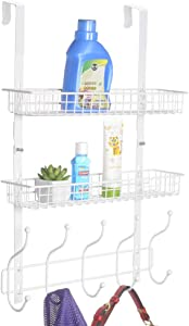 KEIMIX Coat Rack, Over The Door Hanger with Mesh Basket, Detachable Storage Shelf for Towels, Hats, Handbags, Coats