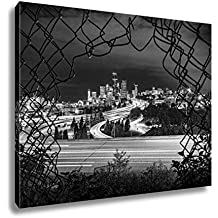 Ashley Canvas Abstract Angle On Downtown City Skyline Artistically Framed By Fence With Slow, Kitchen Bedroom Living Room Art, Black/White 24x30, AG6536932
