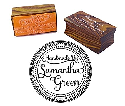 Custom Wood Mounted Round Rubber Stamp Personalized Handmade By Wedding Gift