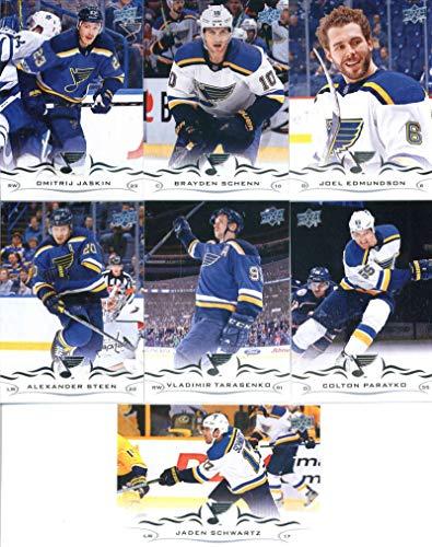 2018-19 Upper Deck Series 1 and 2 Hockey Complete St. Louis Blues Team Set of 14 Cards: Jaden Schwartz(#152), Colton Parayko(#153), Vladimir Tarasenko(#154), Alexander Steen(#155), Joel Edmundson(#156), Brayden Schenn(#157), Dmitrij Jaskin(#158), David Perron(#405), Ryan O'Reilly(#406), Tyler Bozak(#407), Patrick Maroon(#408), Robby Fabbri(#409), Alex Pietrangelo(#410), Jake Allen(#411)