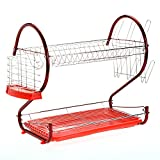 Homdox 2 Tier Dish Rack, Premium Stainless Steel Dish Drainer Drying Rack Holder with Draining Tray - 16 Inch, Chrome Finished - Red