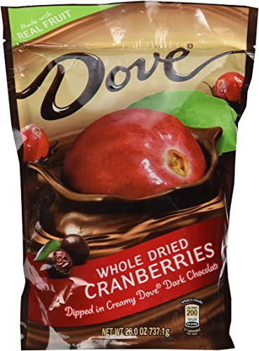 Dove Whole Dried Cranberries Dipped in Creamy Dove Dark Chocolate: 2 Bags of 26 Oz - Sms19